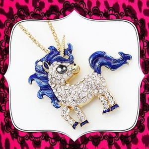 Betsey Johnson Blue Crystal Unicorn Pendant/Brooch